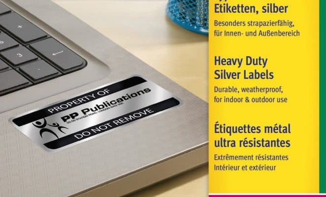 avery ipari ezüst címke