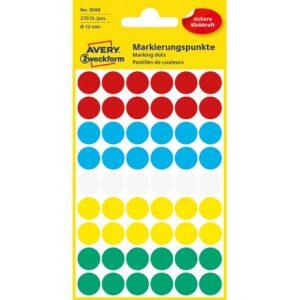 jelölő címke több színű avery 3088 12 mm